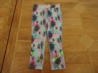 Girls Next Pink Blue Lilac Palm Tree Print Sports / Running Leggings - Age 6