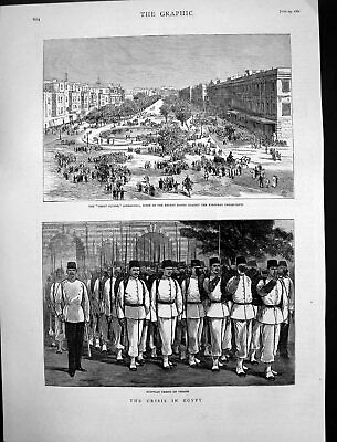 Antique Old Print Great Square Alexandria Rising Egyptian Troops Parade 1882