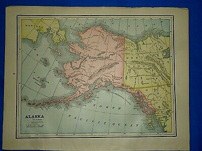 Vintage 1892 MAP ~ ALASKA / ALASKAN TERRITORY ~ Old Antique Original Atlas Map