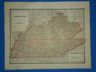 Vintage 1892 MAP ~ KENTUCKY - TENNESSEE ~ Old Antique Original Atlas Map