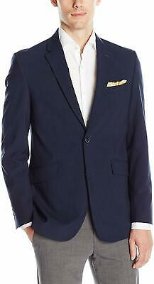 Perry Ellis Mens Blazer Navy Blue Size 38 Slim Fit Notched Two Button $189 #038