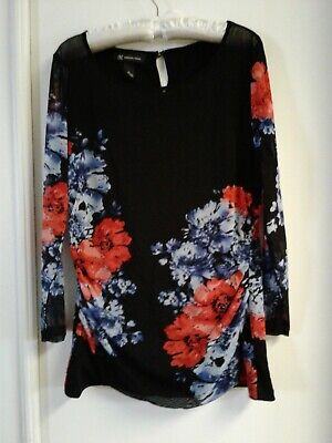 INC International Concepts Black Floral Sheer Stretch Women's Top Size XL