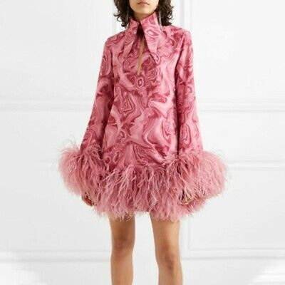 Womens Designer Ostrich Feather Printed Mini Dress Party Lapel Neck Bubble Dress