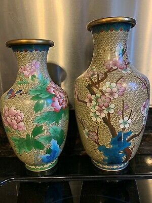 "MANTLE FIND A Pair of Chinese ART CLOISONNE ENAMEL LARGE 10"" & 11"" VASE LOT"