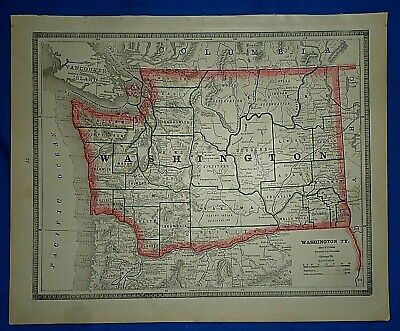 Vintage 1884 MAP ~ WASHINGTON TERRITORY ~ Old Antique Original Atlas Map