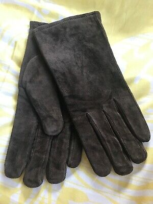 Vintage Aris 115 Isotoner Ladies M Women Brown Suede Leather Driving Gloves New