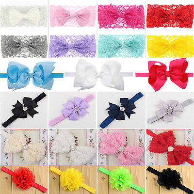 Newborn Baby Girls Lace Elastic Headband Headdress Hair Bow Knot Ribbon Headwear