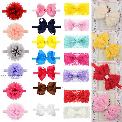 Kids Girl Pure Color Flower Bow Knot Toddler Hairband Hair Accessories Headdress