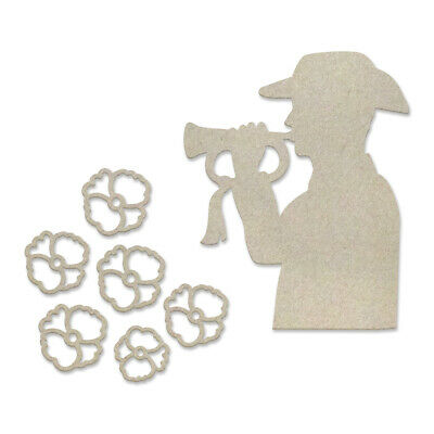 Couture Creations Lest We Forget Chipboard Last Post Set  7pc