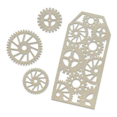 Couture Creations Steampunk Dreams Chipboard Tag & Gears  4pc Set