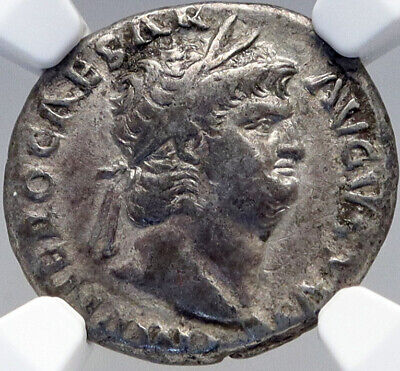 NERO Authentic Ancient 64AD Rome Original Silver Roman Coin w JUPITER NGC i82639
