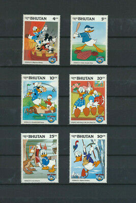 Bhutan Walt Disney Stamps 6 Different Mint NH Topicals Depicting DONALD DUCK