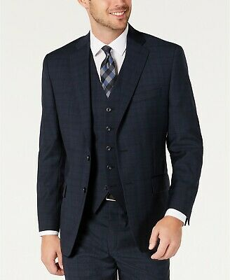 MICHAEL KORS Men's Classic-Fit Airsoft Plaid Suit Suit Jacket Blue 42S NEW $495