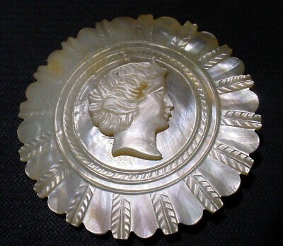 "Antique 2"" Carved Cameo Mother Of Pearl Victorian Ladies Belt Buckle, Brooch N/R"