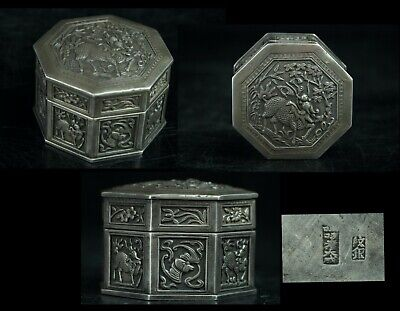 Nov085 Chinese Qing Silver Bonbonniere Small Box Case Relief Animals Marked