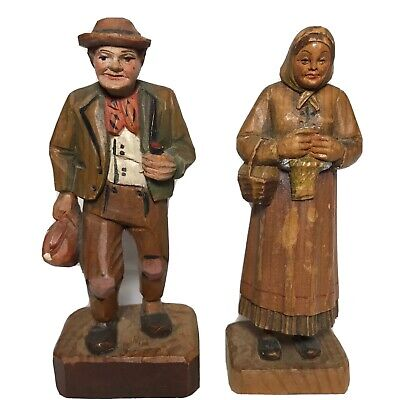 Finely Carved Wood, Black Forest, Old Man And Woman - West Germany 1945 - 1950s