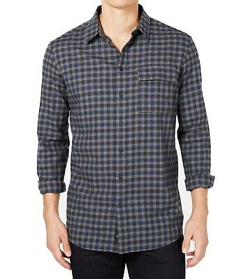 DKNY Mens Shirt Blue Gray Size XL Plaid Collared Button Down Cotton $79 #052