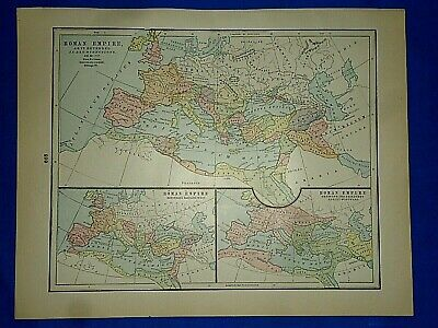 Vintage Historical Map ~ ROMAN EMPIRE AD 98-117~ Printed 1892