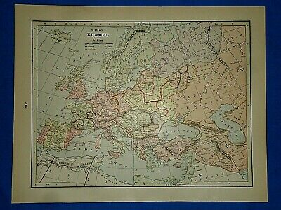 Vintage Historical Map ~ EUROPE A.D. 1400 ~  Printed in 1892