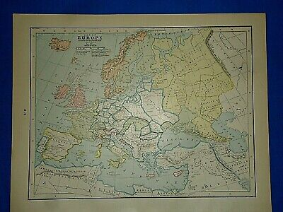 Vintage Historical Map EUROPE DURING the REFORMATION A.D. 1550 Printed in 1892