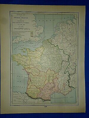 Vintage Historical Map ~ FEUDAL FRANCE A.D. 1152-1207 ~ Printed in 1892