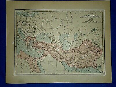 Vintage Historical Map ~ EMPIRE of ALEXANDER the GREAT BC 331-301 ~ Printed 1892