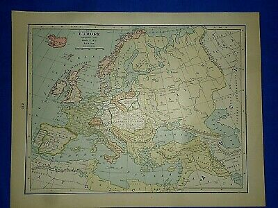 Vintage Historical Map ~ EUROPE in NAPOLEON'S TIME A.D. 1810 ~ Printed in 1892