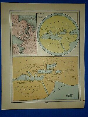 Vintage Historical Map THE WORLD ACCORDING to HECATAEUS / HERODOTUS Printed 1892