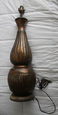 "Tall 31"" Hand Made Antique Copper Table Lamp, Arts & Crafts Style Mid century"