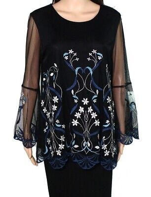 Alfani Women's Blouse Blue Size Medium M Floral Embroidered Sheer $79 #520