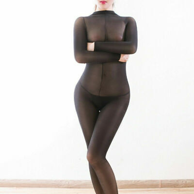 US Ship 220lbs Plus Size Women Sheer Jumpsuit Lingerie Full Bodystocking Tights