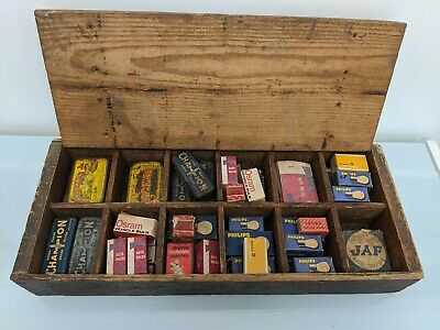 Vacuum Oil Company Box With Sparkplug Boxes New Old Stock Car Bulbs Matches old