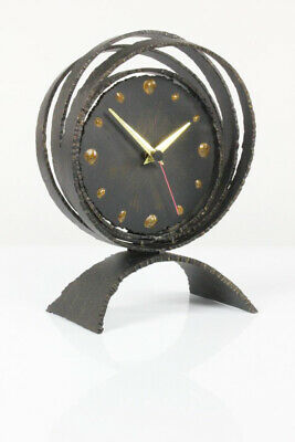 Huge Brutalist Steel Art Desk Clock Mid Century Modern Design Denmark 1960's