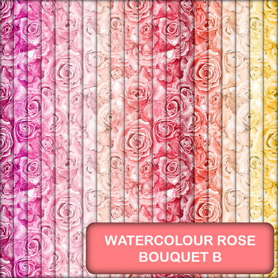 Watercolour Rose Bouquet Scrapbook / Craft Paper - B - 20 A5 Pages