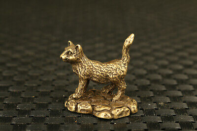 unique chinese Tibet old bronze casting cat statue netsuke collectable