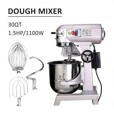 30L Commercial Food Dough Mixer Planetary Stand Cake Bread Beater Whip 1100W