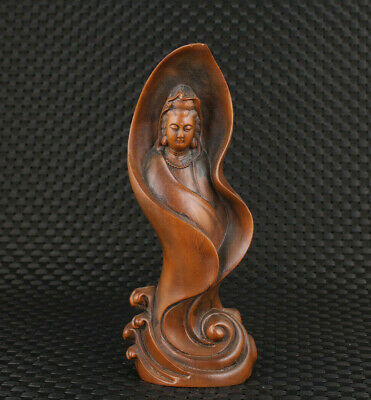 Blessing chinese old boxwood hand carved kwan-yin statue figure collection gift