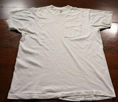 Vintage Fruit of the Loom T-Shirt Pocket Shirt White Blank Solid Single Stitch