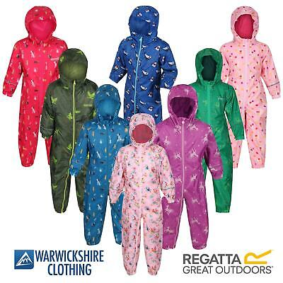 Regatta Kids Pobble All-In-One Suit Rainsuit Puddle Childrens Waterproof Hooded