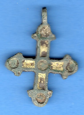 Russia Kiev type Bronze Enamel Cross Pendant Viking time 10-12th ca 1100 AD 67