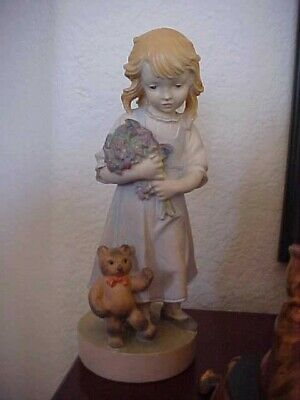 "DOLFI Italy Carved Wood Hand Painted Girl w Teddy Bear 6"" Signed 31/4000"