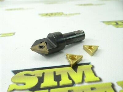 "Apt 90° Indexable Chamfer End Mill 1/2"" Shank + 2 New Carbide Inserts"