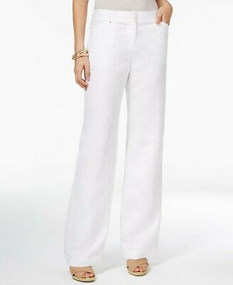 Jm Collection Semi-Sheer Linen Blend Straight-Leg Vacation Casual Pants NWT S
