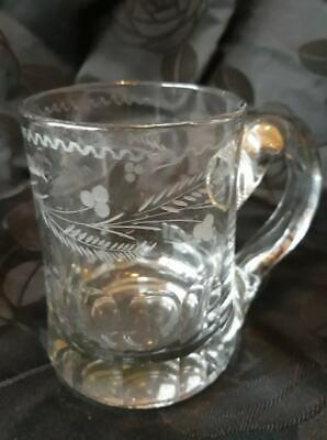 Beautiful Etched Glass Tankard - In Beautiful Condition (Early 20th Century)