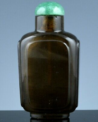 Antique Chinese Carved Smoky Quartz Rock Crystal Stone Faceted Snuff Bottle