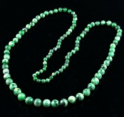 Long Antique Chinese White & Apple Green Jadeite Beaded Necklace Qing Dynasty