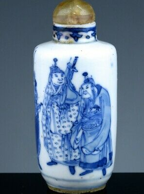 Quality 18/19Thc Chinese Blue White Immortal Warriors Porcelain Snuff Bottle
