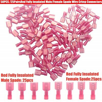 50pcs Red 16-22 AWG Male & Female Nylon Quick Disconnect Connector Terminals Kit