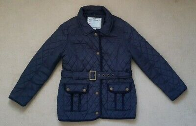 girls Monsoon navy blue quilted padded coat Jacket age 9-10 belted