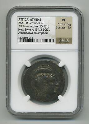 Attica, Athens 2nd- 1st Centuries BC AR Tetradrachm Athena/owl NGC Certified VF